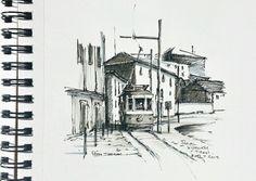 Urban sketch. Currently enjoying a holiday in Porto Portugal, a sketches paradise. Portos Historic Tram. www.ebay.ca/usr/sheelerart . #city #town #cityscape #urban #buildings #landscape #street #art #artist #original #watercolor #watercolour #painting #ebay #paintingaday #ink #pen #waterbrush #winsornewtonmarker #pleinaire #urbansketch #urbansketchers #tram #train #Porto #portugal