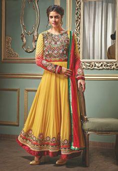 Yellow Faux Georgette Abaya Style Churidar Kameez Online Shopping: KSU38