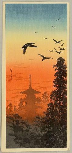 'Pagoda and Crows at Sunset' by Takahashi Hiroaki