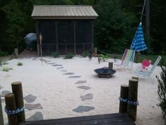 I like this idea!- ez to maintain- beach backyard ideas