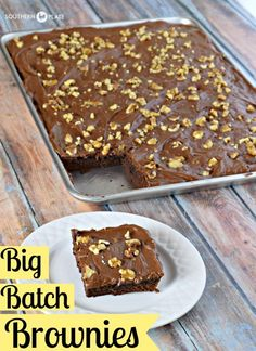 Big Batch Brownies ~ Fudgey and deeply chocolate, these brownies pay homemage to cafeteria ladies in days of old and make plenty to share! http://www.southernplate.com