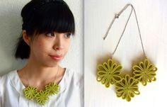 felt hana necklace // avocado green yellow by Homako