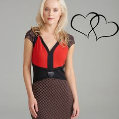 Say Happy #ValentinesDay, with the perfect #datenight dress. Black + red + heart detailing = perfection.