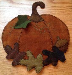 Primitive Wool Penny Rug Pumpkin Votive Jar Candle Mat 2 Fall Decor