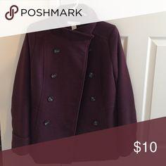 H&M Maroon peacoat never worn Maroon, size 8. H&M Jackets & Coats