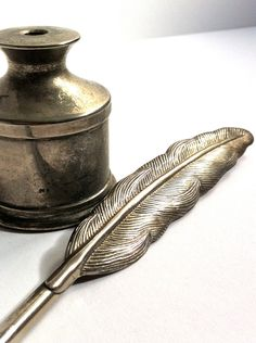 Silver Plated Feather Quill Pen and Ink Pot by taffyandcinnamons