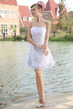 Organza Strapless Ruched Dress With Lace Appliques Ruched Dress, Lace Dress, Strapless Dress, 2016 Wedding Dresses, Cheap Wedding Dress, Lace Applique, Nice Dresses, Fancy, Clothes