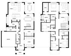 Como 390 Home Design - House Design Como 390 Double Storey House Plans, Double Story House, Narrow House Plans, Two Storey House, Modern House Plans, Family House Plans, Dream House Plans, House Floor Plans, House Furniture Design