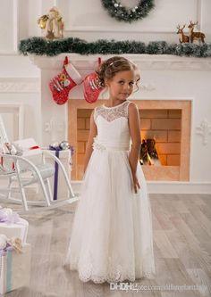 Las muchachas de flor de encaje vestidos preciosos de la joya del cuello Appliqued Tulle de chicas vestidos del desfile de la vendimia con los vestidos del banquete de boda de la princesa de los niños de guillotina