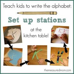 Teach kids to write the alphabet by setting up stations at the kitchen table!  Easy and fun!  Includes links to handwriting printables for preschool (easy, medium, hard) - from the measured mom
