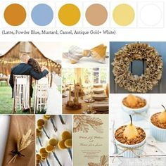 When I grow up..these will be my wedding colors, Simple! {Harvest Romance}: A Rustic Fall Palette of Latte, Powder Blue, Mustard, Camel, Gold+ White