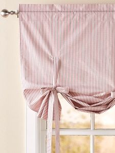 Insulated Ticking Stripe Tie Up Balloon Valance - Home Decor Tie Up Valance, Tie Up Curtains, Balloon Curtains, Striped Curtains, Curtain Valances, Drapery, Cortinas Country, Tie Up Shades, Rideaux Design
