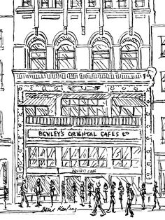 FINEARTSEEN - View Bewley's Cafe Dublin by Brian Keating. An original black and white ink drawing of Dublin, Ireland. Available on FineArtSeen l The Home Of Original Art. Enjoy Free Delivery with every order. << Pin For Later >>