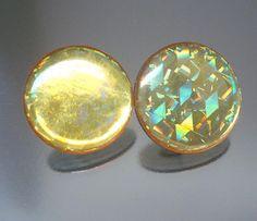 Vintage Yellow Hologram Earrings via Etsy