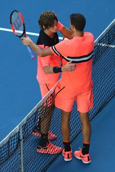 Grigor Dimitrov Photos - Andrey Rublev (L) of Russia congratulates Grigor Dimitrov of Bulgaria after Dimitrov won their third round match on day five of the 2018 Australian Open at Melbourne Park on January 19, 2018 in Melbourne, Australia. - 2018 Australian Open - Day 5 Australia 2018, Melbourne Australia, Australian Open, Opening Day, Bulgaria, Tennis Racket, Third, Russia, January