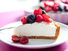 This no bake cheesecake is as simple as they come, no fancy ingredients or techniques involved. I like to mix things up with Biscoff rather than graham crackers in the crust, but whatever you decide, the filling itself is refreshing, tart, and only lightly sweetened. The trick is to give the crust and filling plenty of time to chill, which makes them easier to slice. Right before serving, top with fresh fruit for a light and summery dessert.