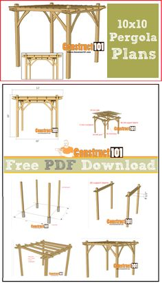 Pergola plans - 10x10 - free PDF download, cutting list, and shopping list. #pergolaplansfree