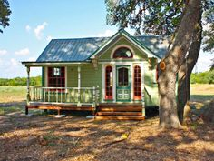 Victorian Farmhouse  Painted with six colors, The Painted Lady is an intricately designed micro farmhouse in Round Top, Texas, from Tiny Texas Houses. With a Victorian style exterior, the interior measures 12- by 26-fee