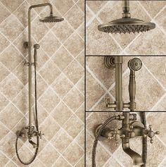 "Antique Brass 8"" Rain Shower Set Faucet Wall Mounted Mixer Tap with Hand Spray #bestfaucet"