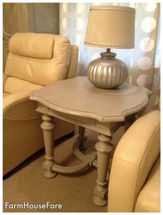French Provincial End Table Chalk Paint Linen Gray Tan Vintage Distressed Rustic Wood Living Room Side FarmHouseFare