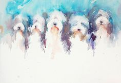 Five in a Row Bearded Collies by Jean Haines