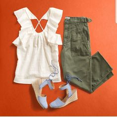 Love this outfit. I own a similar wedge sandals, and a pair of olive cargo. I can own a second pair of cargo maybe in white or black. I want to try the top. Would look great on shorts as well.