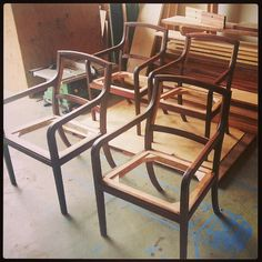 Custom black walnut siting chair designed and built by artisan Nate Hardenbrook chairs ready for upholstery.