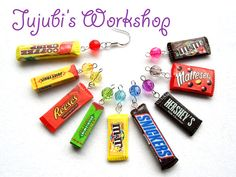 Polymer Clay Candy / Chocolate Bar Earrings  by JujubisWorkshop, $10.00