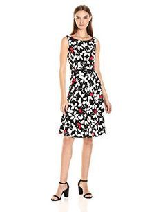 Nine West Women's Slvless Fit and Flare Multi - Leaf print Fit and flare