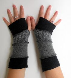 Recycled Sweater Fingerless Gloves Arm Warmers