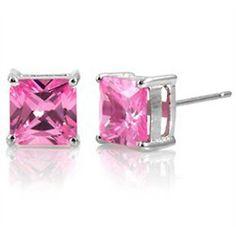 1 2 Carat Pink Sapphire Princess Cut Earrings .