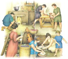busy slaves in the culina (kitchen)