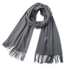 Corciova®  Solid Color Cashmere-like Tassel Ends Long Scarf One Size Grey