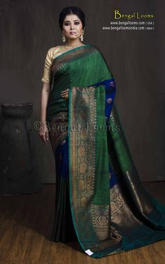 Tussar Silk Banarasi Saree in Emerald Green, Midnight Blue and Antique Gold Pink Saree Silk, Organza Saree, Green Saree, Cotton Saree Designs, Pattu Saree Blouse Designs, Indian Bridal Sarees, Indian Silk Sarees, Saree Designs Party Wear, Designer Sarees Wedding