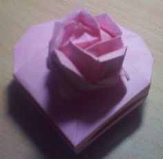 Origami Box - Heart Box with Rose