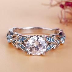 Jeulia Butterfly Round Cut Created White Sapphire with Aquamarine Sidestone - Jeulia Jewelry