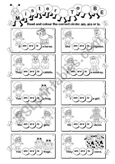Mister ´To Be´ - ESL worksheet by gabitza Pronoun Worksheets, Hidden Pictures, Queen, English Lessons, Sentences, Thing 1, Printable, Colour, Education