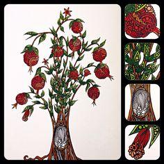 Pomegranate tree 2 zentangle zendoodle zenart Doodle Artist, My Doodle, Floral Theme, Pomegranate, Zentangle, Mandala, Doodles, Drawing, Illustration