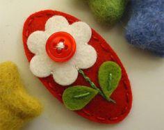 NO SLIP Wool felt hair clip jelly buttoned flower by MayCrimson