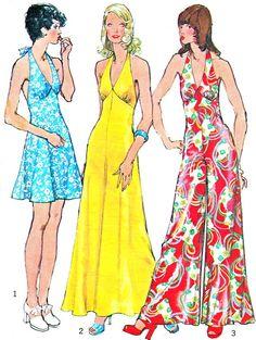 1970s Halter Neck Womens Wide Leg Jumpsuit Maxi Dress Mini Dress Vintage Sewing Pattern Simplicity 5626 Bust 32 1/2 on Etsy, $30.00