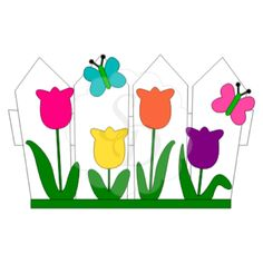 72a034e71a8ee085dcb71cdbfb8bedd8_fence-tulips-butterflies-fence-with-flowers-clipart_600-600.png (600×600)