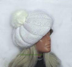 White Beret Hat BowCrochet BeretSlouchy Beret by GalinaHandmade