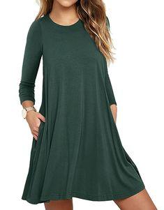 UMETINY Women s Pockets Dress Casual Swing T-Shirt Dresses c37d1706bc11