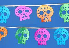 Papel picado calaveras: Sugar skull calavera templates to download and make!