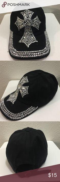 93d6d4eae26 Baseball cap Cute black adjustable baseball cap with bling . Beautiful  sparkly cross . Missing 1
