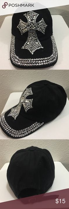 943023cc67c Baseball cap Cute black adjustable baseball cap with bling . Beautiful  sparkly cross . Missing 1