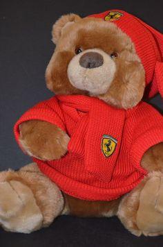 "Official Ferrari Product Stuffed Teddy Bear Knit Sweater, Hat, Scarf Soft 14"""