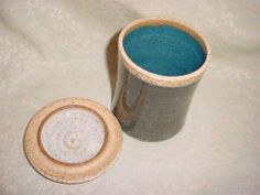 Lidded Pottery Jar Canister Cup Tumbler Signed Clay Works J C Gray Blue Glaze