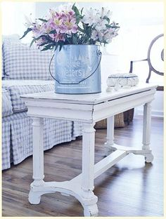 Piano bench as coffee table