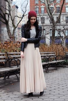 burgundy beanie + pink maxi skirt